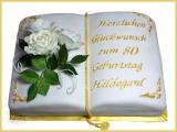 Torte Buch Golden mit Rosen