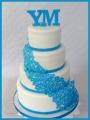 Hochzeitstorte Blumen blau