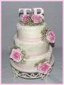 Hochzeitstorte Rosen rosa weiß Spitze