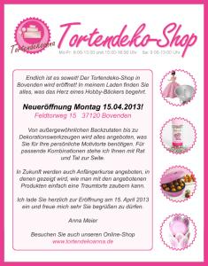 Flyer zur Neueröffnung des Tortendeko-Shops in Bovenden, April 2013